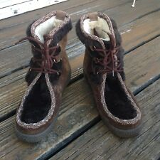Woodbridge Brown Suede Leather Faux Fur Trim Boho Wedge Heel Ankle Boots Sz 8 39