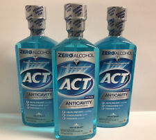 (3) ACT Zero Alcohol Anticavity Fluoride Mouthwash-Arctic Blast-18oz. Each
