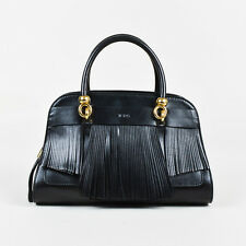 "Tod's $2425 Black Leather Gold Tone ""Sella"" Fringe Double Handle Bag"