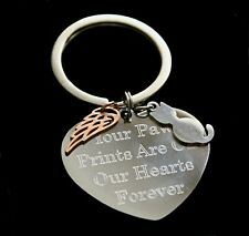 Personalised Cat Loss Keyring Any Engraving Angel Wing Remembrance Keepsake Gift