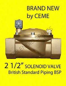 "CEME 8620  2 1/2"" BSP Solenoid Valve Brass Normally Closed 0.3-10 Bar"