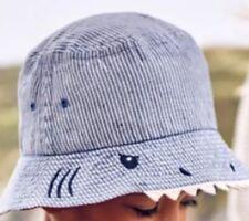 Boden Shark Hat - Blue Ticking Stripes {Z114}