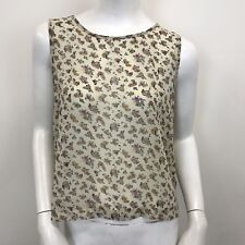 New Look Ladies Beige Floral Print Sleeveless Sheer Chiffon Blouse UK Size 10-12