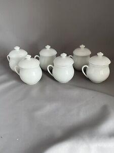 Set 6 Apilco Classic White Porcelain Pots de Creme France