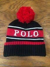 POLO RALPH LAUREN WINTER STADIUM 1992 WOOL-BLEND HAT SKULLY BEANIE POM-POM CAP