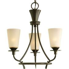Progress Rustic Cantata 3-Light Forged Bronze Chandelier Seeded Topaz Glass $149