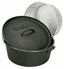 Dutch Oven Cast Iron Cooking 20-Quart Lid and Perforated Basket Dutch Oven