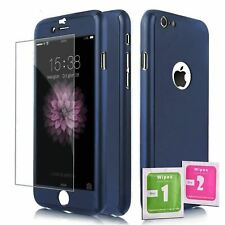 360 ShockProof Case Cover + Tempered Glass for IPHONE 5 / 5S / SE BLUE Full