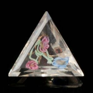 Rare Czech antique satin floral gold lampwork crystal triangle rhinestone 26mm