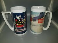 2 Insulated Vintage Thermo Serv Budweiser Coors Beer Plastic Mugs Excellent 80s
