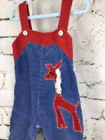 Vintage Overalls Blue Red Corduroy Applique Giraffe Sears Size M 21 to 26 lbs