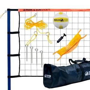 Park & Sun Spiker Sport Steel Orange Portable Outdoor Volleyball Net Set w/ Bag