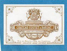 SAUTERNES 1ER GCC VIEILLE ETIQUETTE CHATEAU COUTET 1966 RARE     §14/03/18§