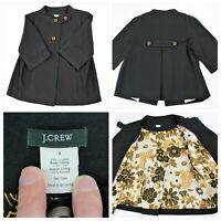J. Crew Black Pea Coat Women's size 8 with Silk Floral Print Lining 3/4 sleeves
