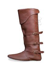 Mittelalter Stiefel Schuhe  mit drei Schnallen Größe 38-48 Spät-Mittelalter