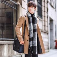 Casual Men's Single Breasted Slim Trench Coat Long Overcoat Jacket Parka Outwear