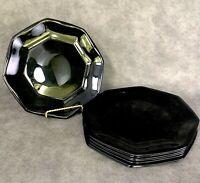 "Set of 8 Arcoroc OCTIME Black 7 1/4"" Salad Dessert Plates Octagonal Sided Glass"