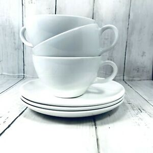 Corning Centura Coffee Cups and Saucers White Set of Three  Coupe  1267