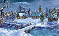 Winter-landscape-village-church Canvas  Wall Art  20x30 INCHES