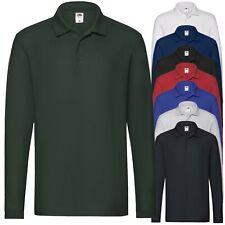 Polo da Lavoro Maniche Lunghe Uomo T-Shirt 100% Cotone FRUIT OF THE LOOM Premium