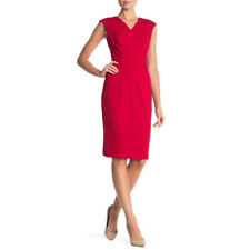 Calvin Klein Womens Red V Neck Cap Sleeve Midi Sheath Dress 14 NWT
