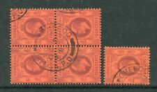 Old China Hong Kong KEVII 5 x 4c stamps (Block of 4) with Nice Chefoo CDS Pmk