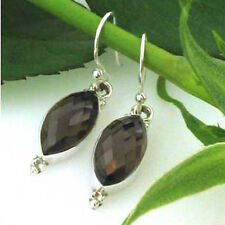 Faceted Smokey Quartz and Sterling Silver Drop Earrings
