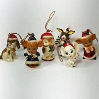 Vintage Hard Plastic Christmas Ornaments Santa Mouse Dog Rabbit Owl Lot of 6