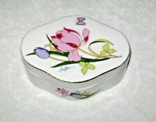 Vintage 1960's Porcelain Trinket Box Iris Flowers & Butterfly Signed