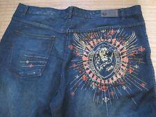 Men's Pelle Pelle Medium Wash Embroidered Pocket Straight Short Jeans 48 X 28