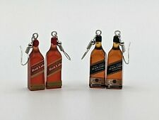 3D Retro JOHNNIE WALKER Style Whiskey Bottles Novelty Earrings Dress Accessory