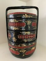 Vintage Asian Japanese 3 tier Bento Box Lunch box lacquered With Handles