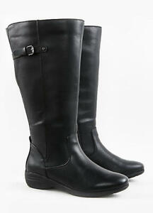 EX EVANS EXTRA WIDE FIT (EEE) BLACK FAUX LEATHER HIGH LEG KNEE BOOTS MEMORY FOAM