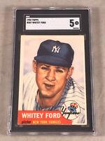 1953 TOPPS #207 WHITEY FORD SGC EX 5 HOF