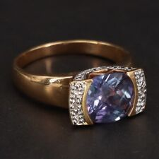 Accent Gold Ring Size 9 - 5.5g Sterling Silver Ross Simons Alexandrite & Diamond