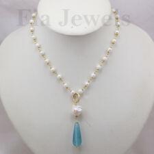 Collana rosario perle naturali e giada acquamarina Argento 925 Placcato oro