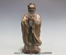 China Pure Bronze Copper Confucianism Kong Zi Kongzi Confucius saint Statue