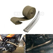 "2"" 16Ft Titanium Wrap Header Exhaust Heat Wrap +6 Ties Kit for Motorcycle"