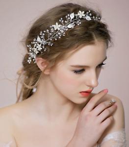 Silber biegsame Perle Kristall Braut Haar Vine Hochzeit Stirnband Hai  WG