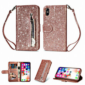 Bling Flip Leather Wallet Phone Case Cover Women For iPhone 6 7 8 Plus XS MAX XR