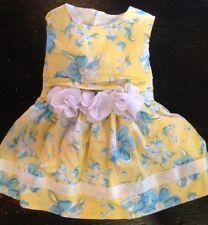 Hartstrings Baby Newborn Girls 0-3 Mo Sleeveless Dress Yellow Blue Floral EUC