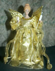 Beautiful Vtg Porcelain Lighted'Angel'Tree Topper!Gold Dress & Wings/10.5' Tall