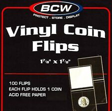 500 BCW 2x2 Double Pocket Vinyl Coin Flips  Holders With Labels  Mailers