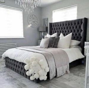 Plush Velvet Fully Upholstered Wing back Sleigh Bed Frame Available In All Sizes