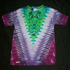 "Organic Tie Dye T-Shirt Green & Purple ""V"" Small Hand Tye Dyed Fair Trade Hippie"