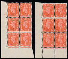 More details for 1941 kgvi light colours 1d cylinder 180 blocks on normal & thick papers sg q5/b