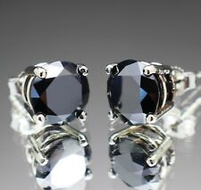 3.60tcw Real Natural Black Diamond Stud Earrings 10k White Gold & $2200 Value.