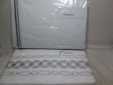 4 Piece Charisma Grey Gray Embroidered Queen Duvet Cover, Shams & Bedskirt Set