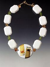 Cloissone Peridot White Onyx 18K Necklace New Sale - Bess Heitner Opulent Kyoto