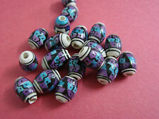 #M97 - 2o Peruvian Ceramic Beads tube 8mm So.western Inca Aztec multi-colored